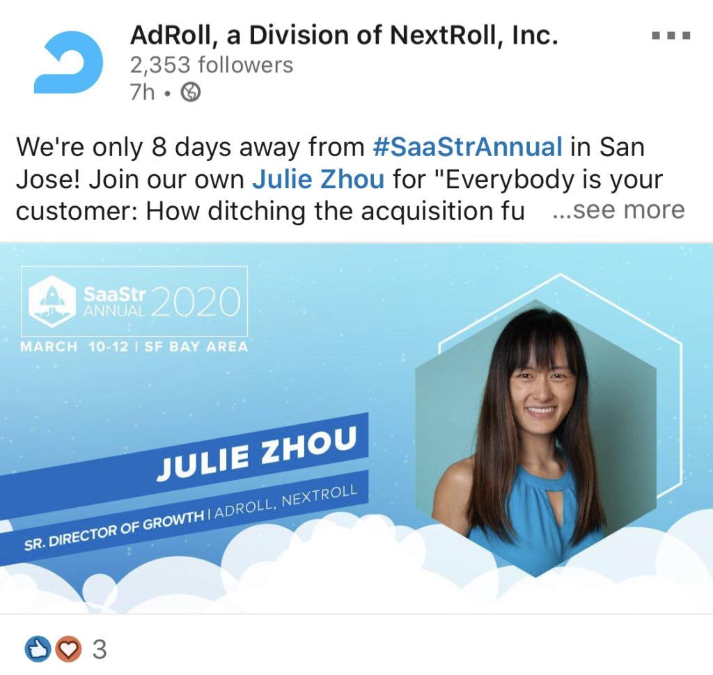 adroll linkedin post employee inspiration
