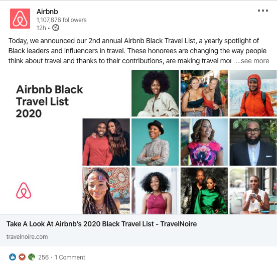 airbnb linkedin post of people