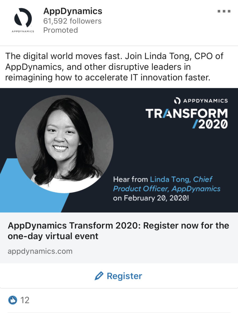 appdynamics linkedin promoted post with employee for inspiration