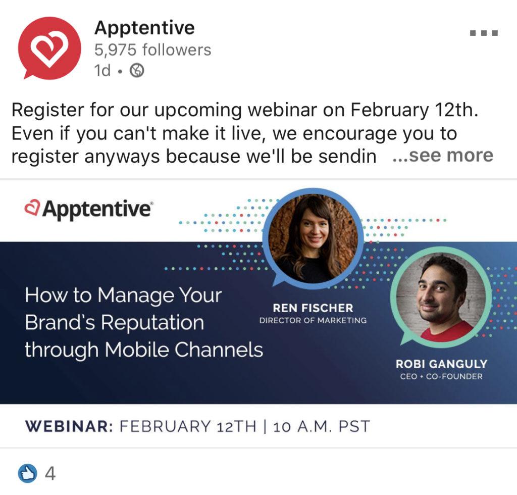 apptentive linkedin post featuring employee spotlight for webinar