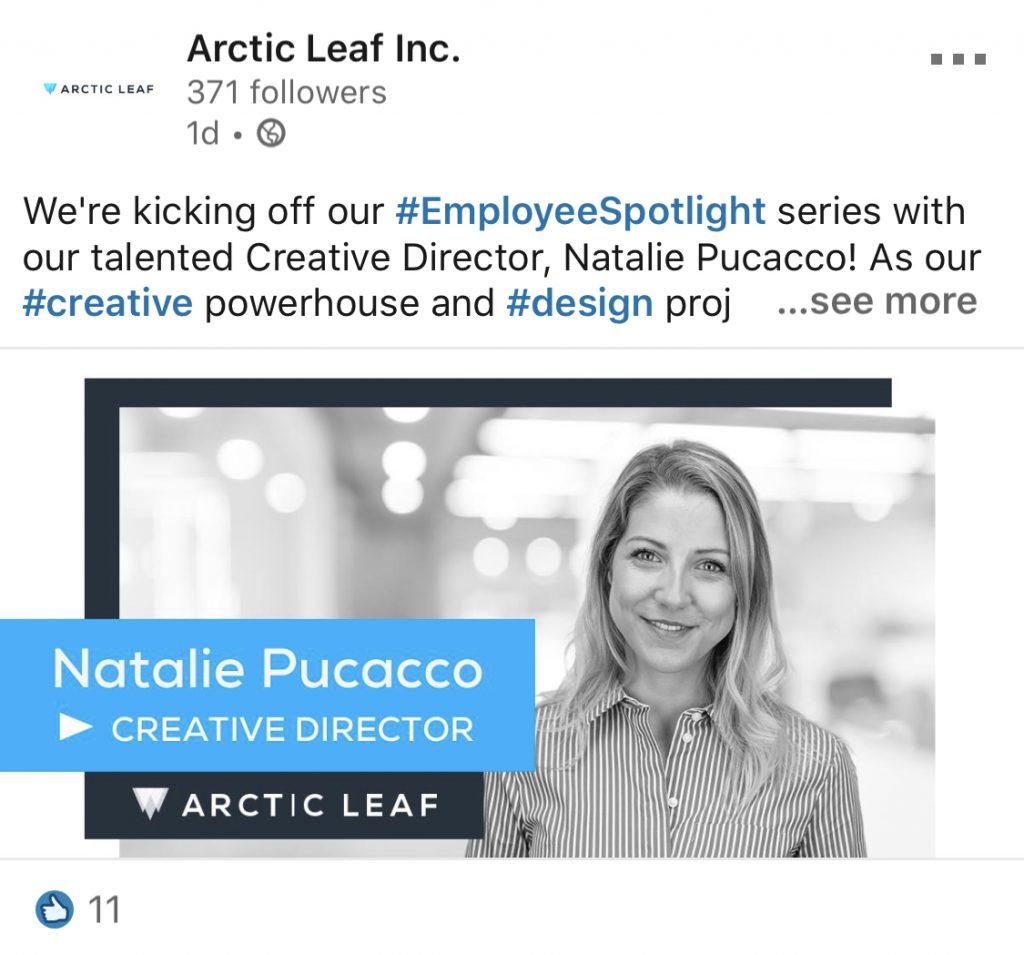 arctic leaf employee natalie linkedin post