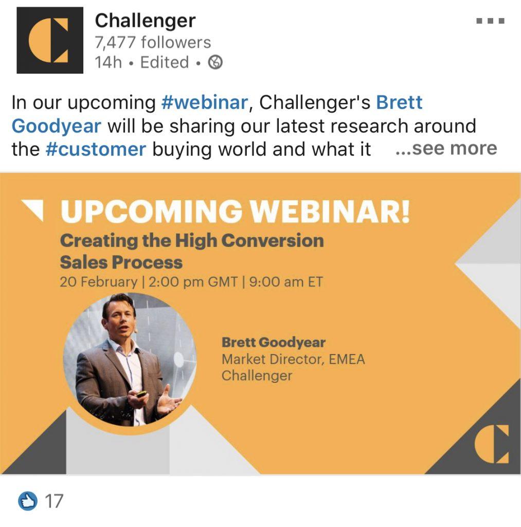 challenger employee brett webinar post on linkedin