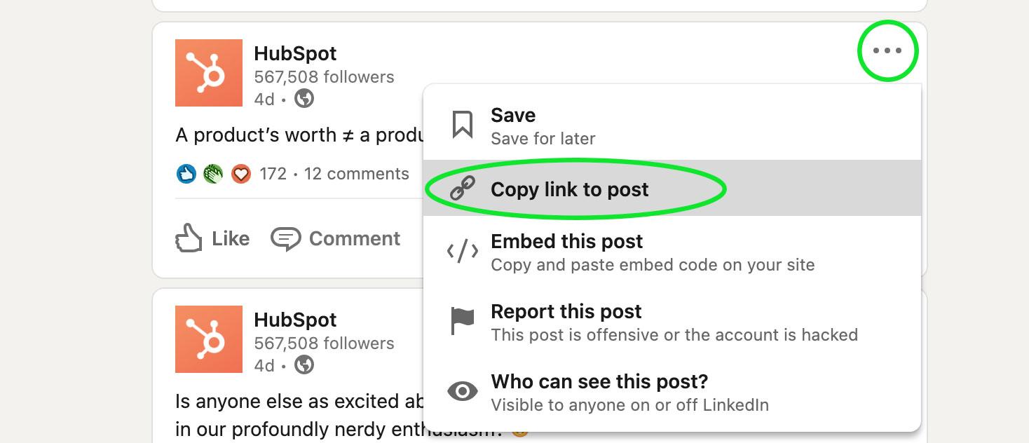 linkedin copy link to post