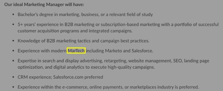 MarTech term used in job description