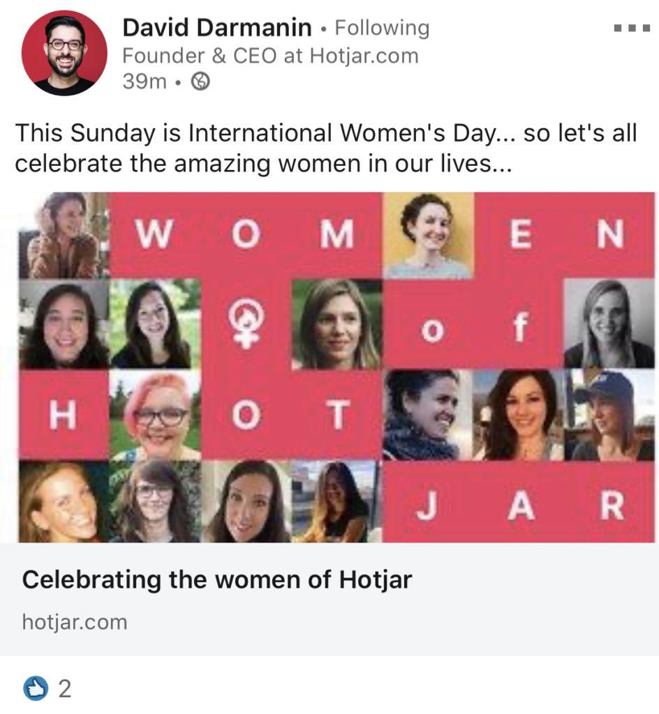 women of hotjar linkedin post