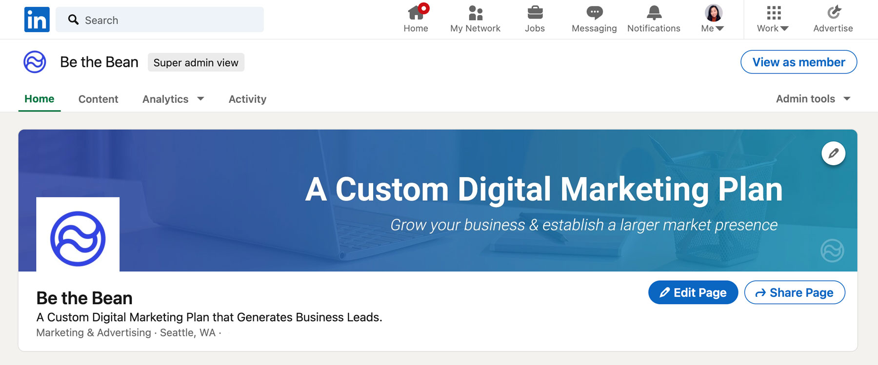be the bean LinkedIn company page
