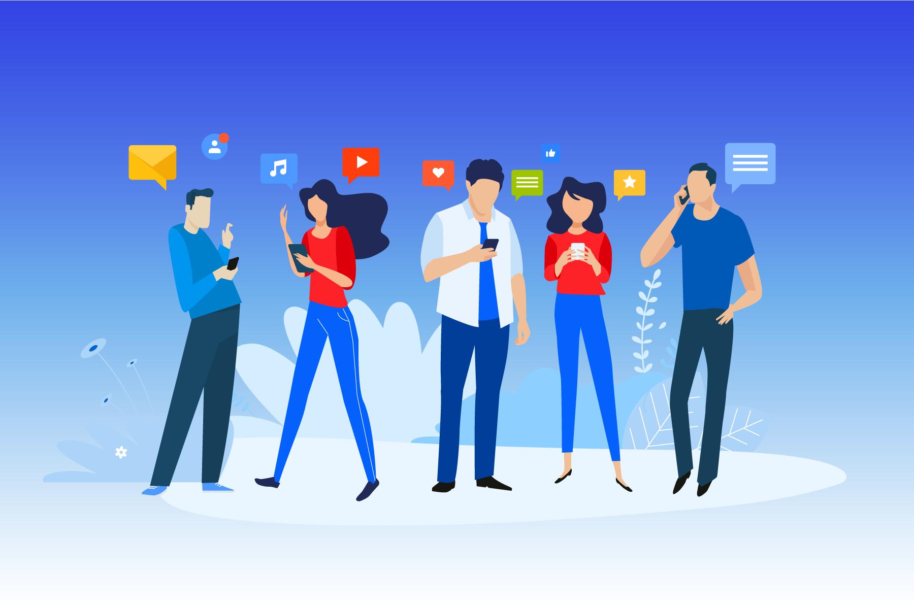 illustration social media users