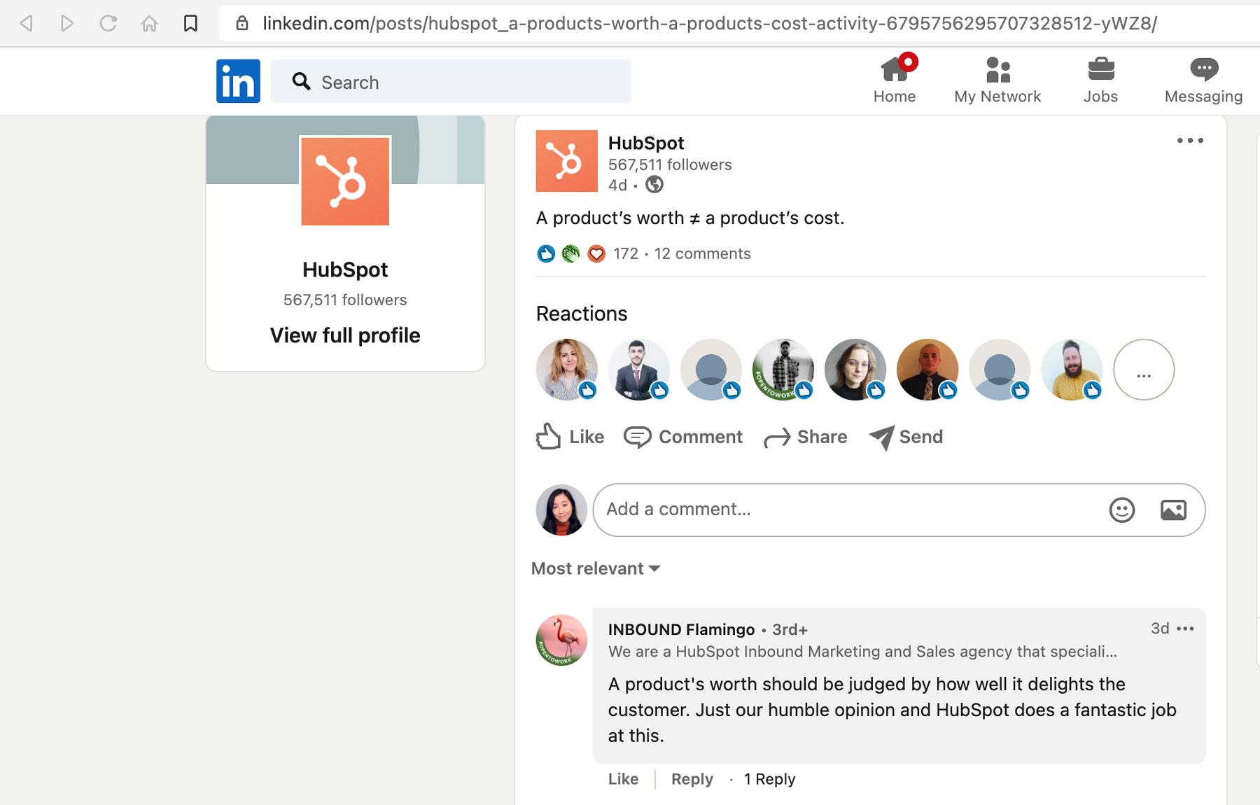 individual linkedin post