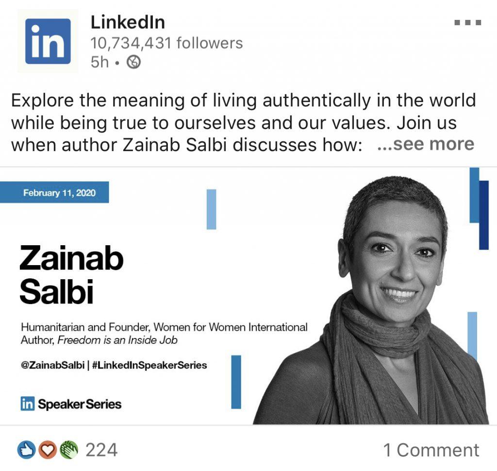 linkedin employee zainab linkedin post