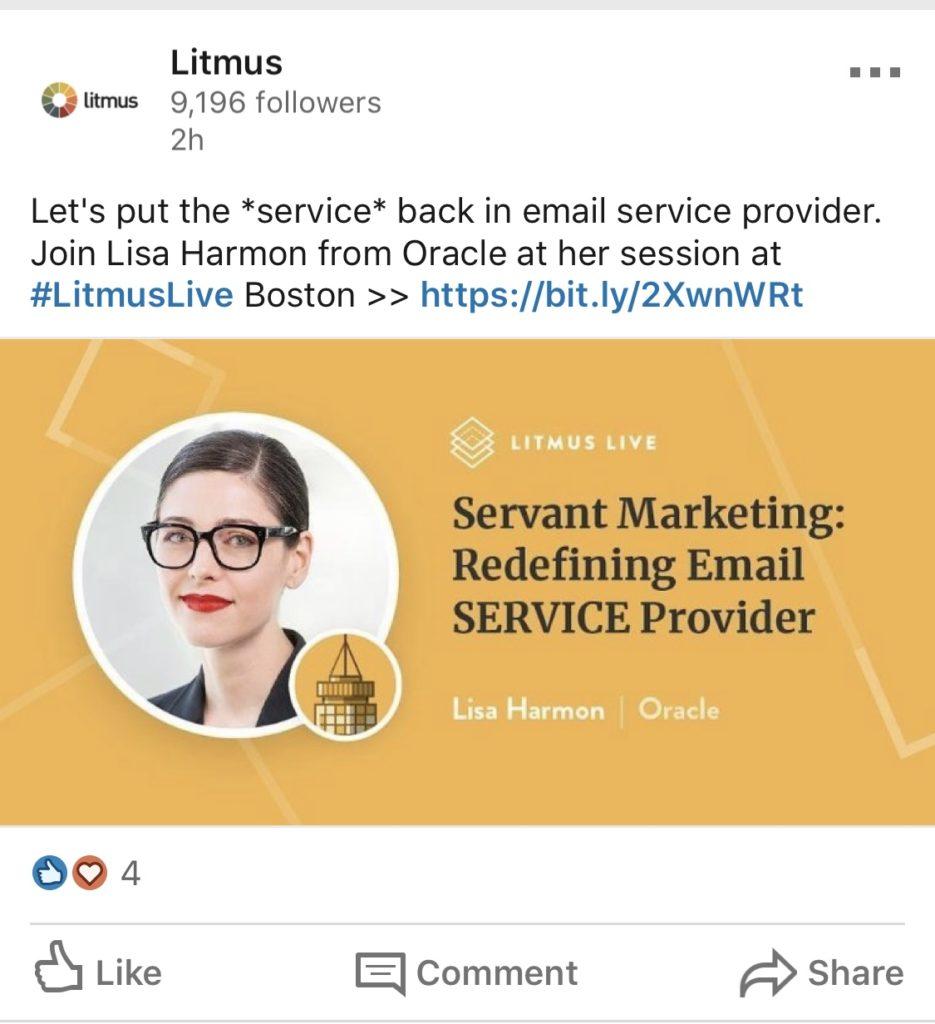 litmus linkedin speaker ad post