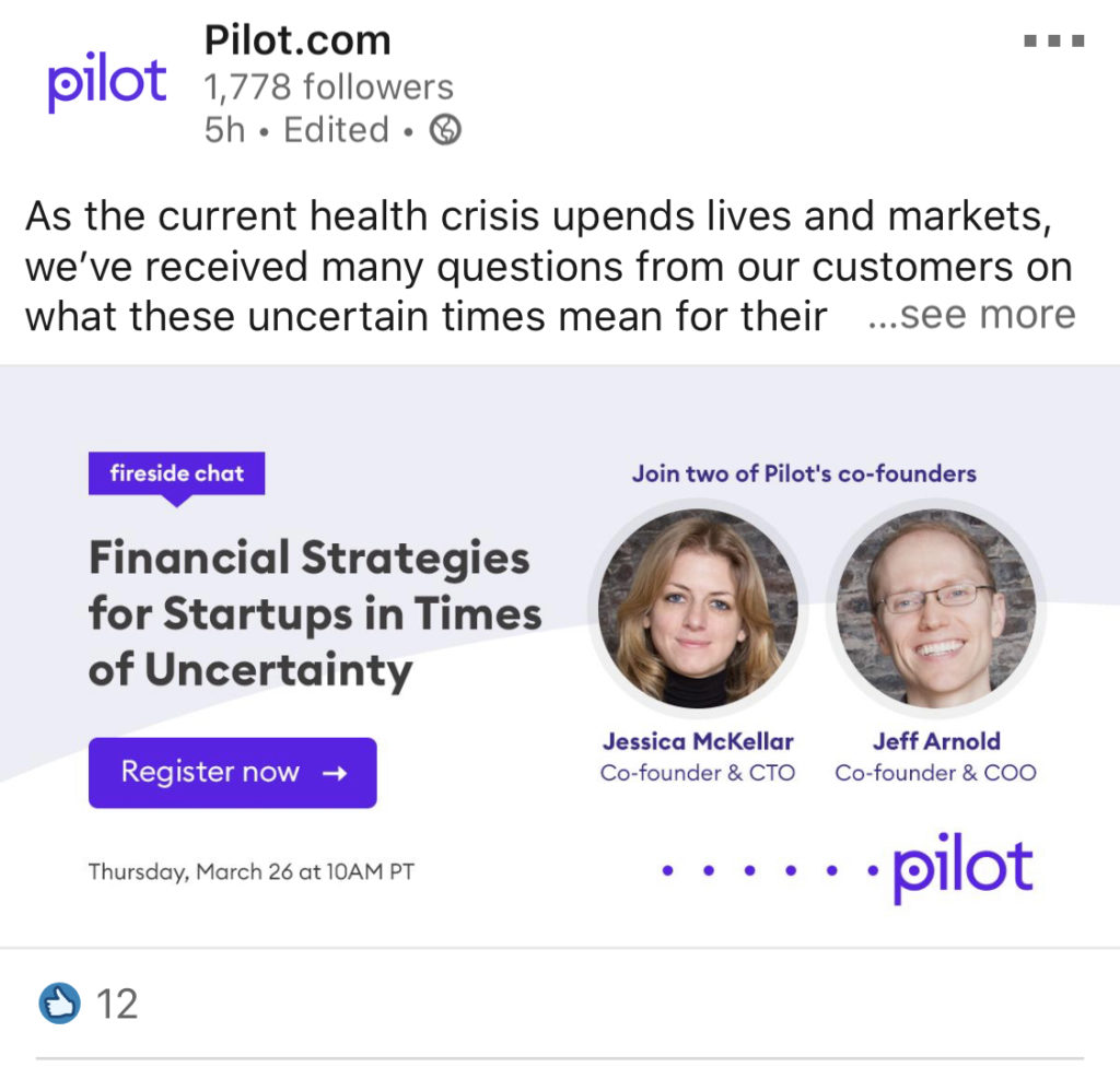 pilot linkedin post for webinar featuring employees