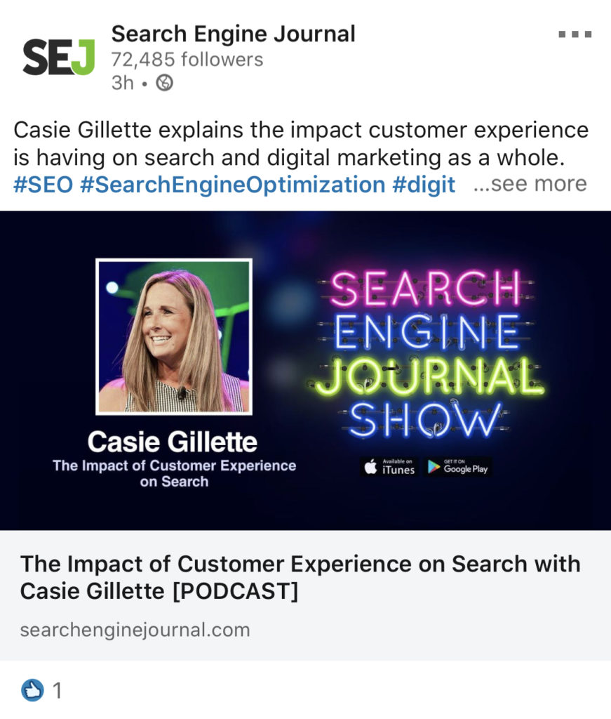 search engine journal casie linkedin example