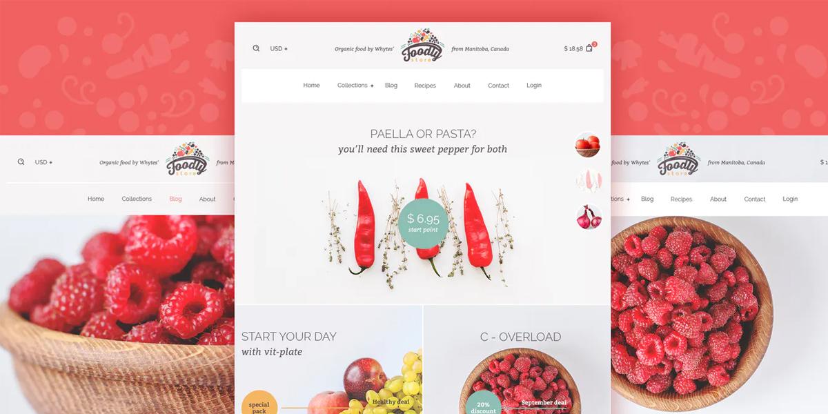 shopify food website design example