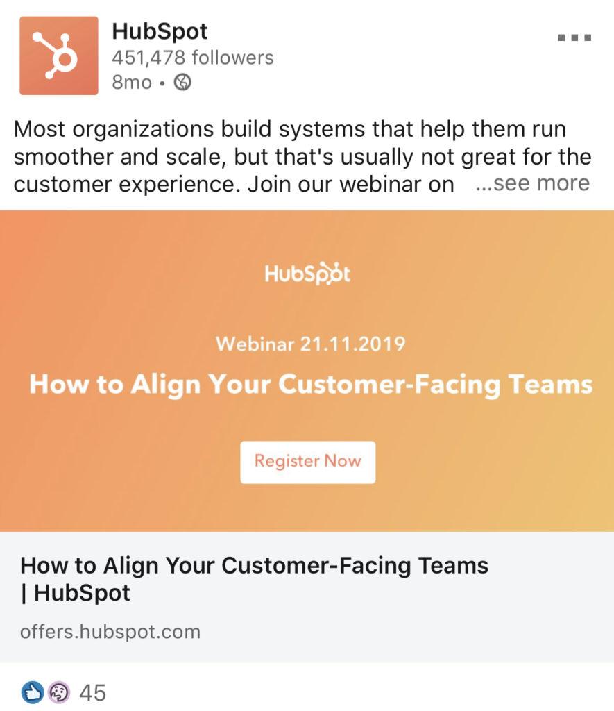 hubspot webinar linkedin example