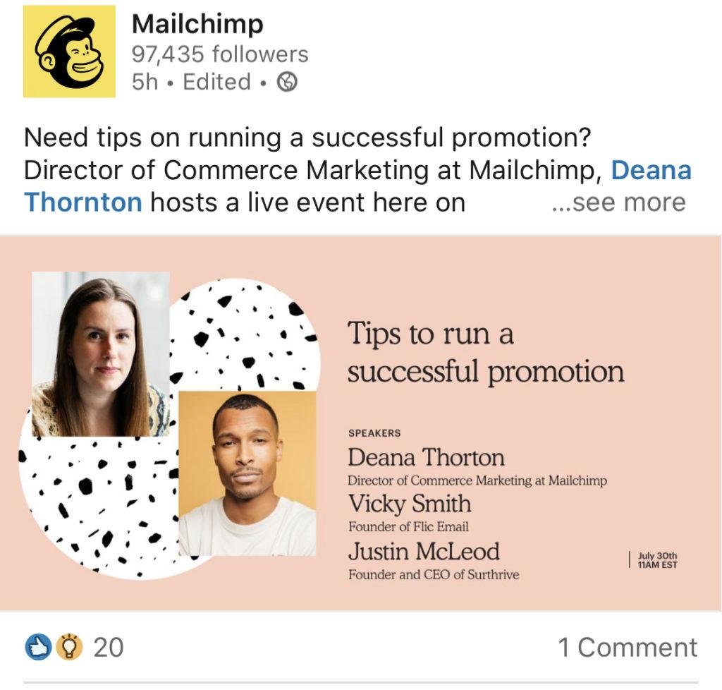 mailchimp linkedin example