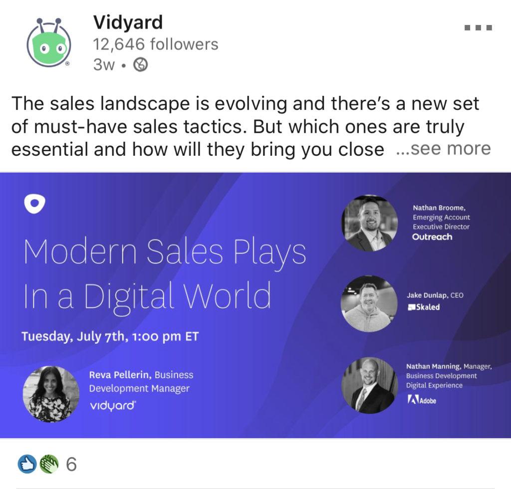 webinar vidyard linkedin example