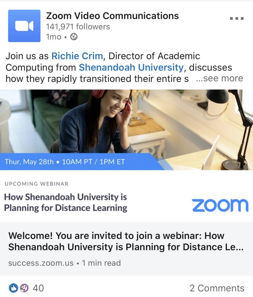 webinar zoom linkedin example