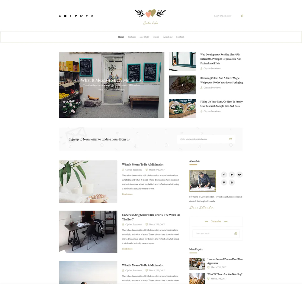 blog content website page example