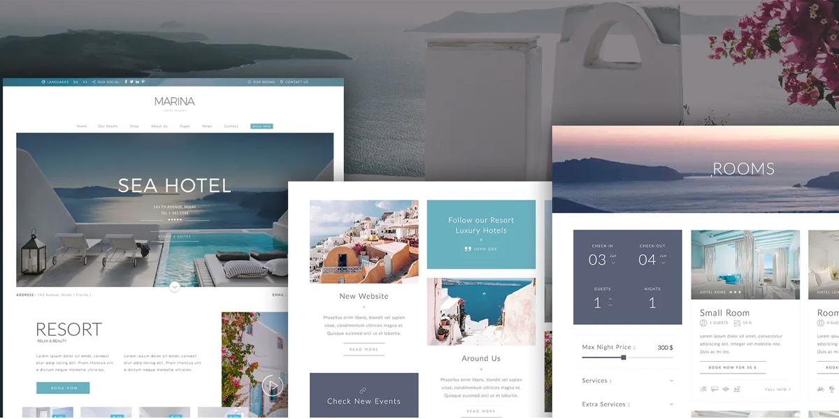 wordpress hotel website design example